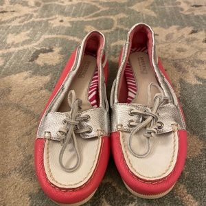 NEW Sperry Boat Shoes Silver/pink/white size 6.5